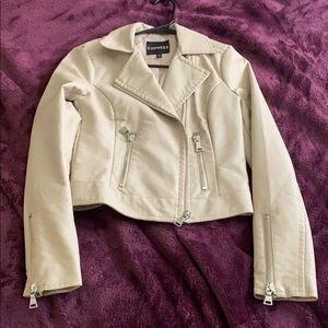 Nude faux leather jacket